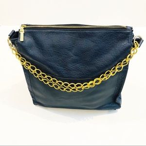 French Connection Tote Bag w/ Gold Chain Handles